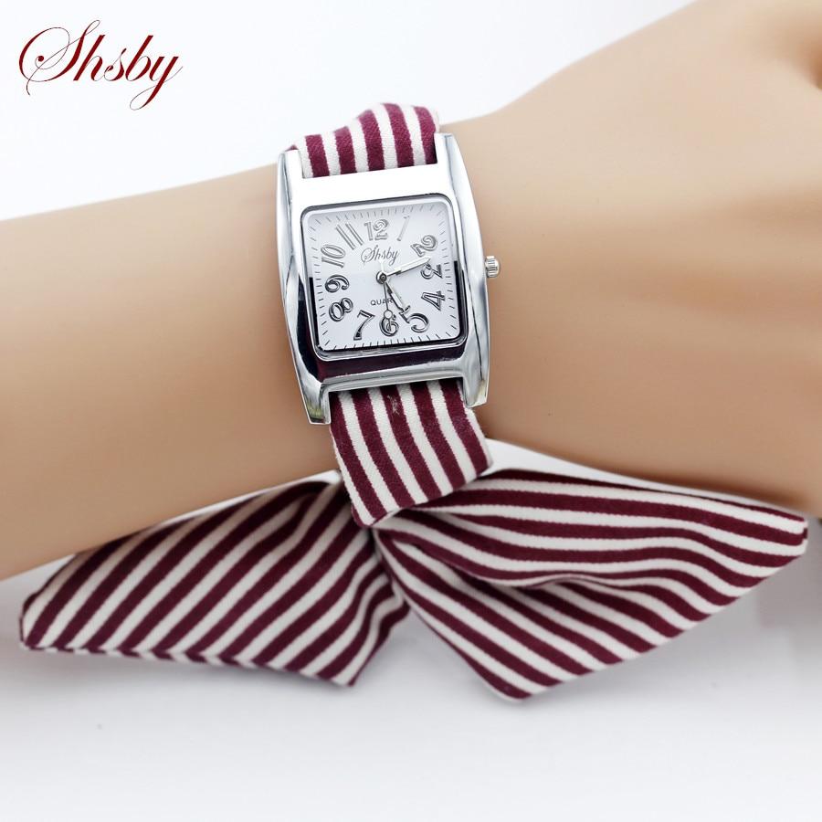 Shsby Brand New Ladies Concise Stripe Cloth Wristwatch Women Dress Watches High Quality Fabric Watch Sweet Girls Bracelet Watch