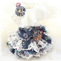 Free shipping handmade little daisy cotton texture lady lace dog dress tutu pet doggie clothes