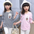 2016 New Baby Girl Long Sleeve T-shirt Striped Pattern Character Owl Embroidery Kid Pullover Shirt Cotton Children Top Tees