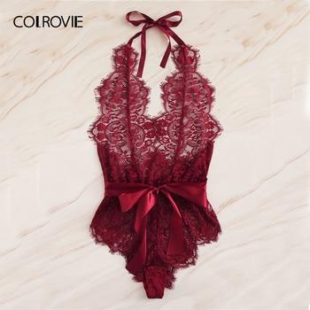 COLROVIE Burgundy Floral Lace Scallop Knot Halter Sexy Lingerie Teddy Bodysuit Women Pajamas 2019 Summer Sleepwear Nightgowns 5