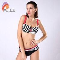 Andzhelika Bikini Women New Striped Swimsuit Large Cup Bra Small Bottoms Bikini Set Push Up Beach