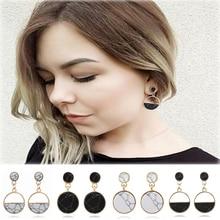 купить Cuteeco Simple Double Circle Half Moon Marble Stone Earrings for Women Brincos Drop Earrings Statement Pendientes 2019 New онлайн