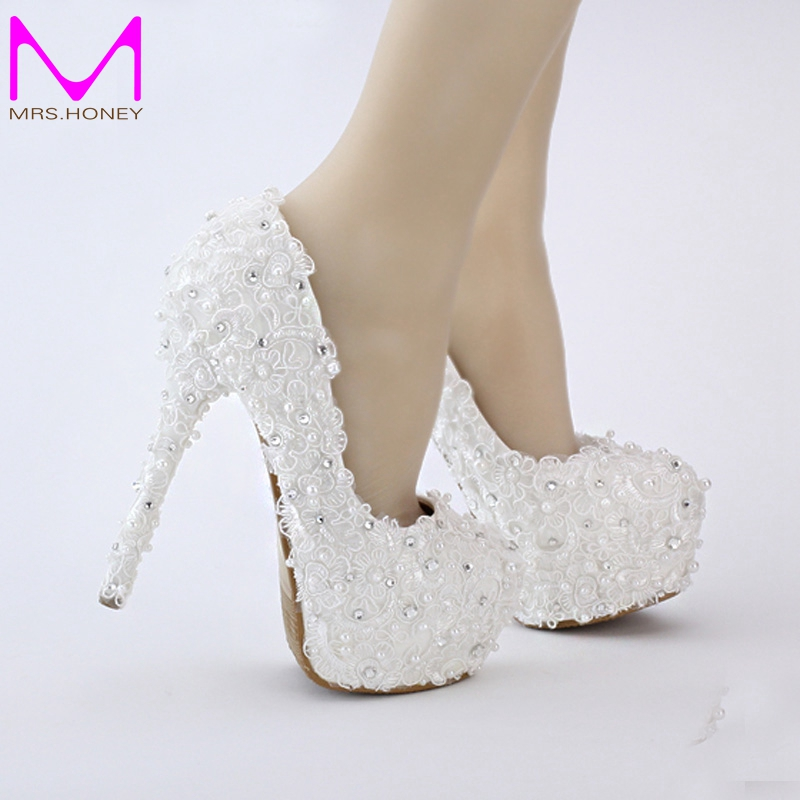 free shipping white lace shoes evenign prom bridal