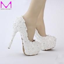 Free Shipping White Lace Bride Shoes Evenign Prom Bridal Dress Shoes 14cm High Heels Platform Bridesmaid Shoes Fashionable Pumps