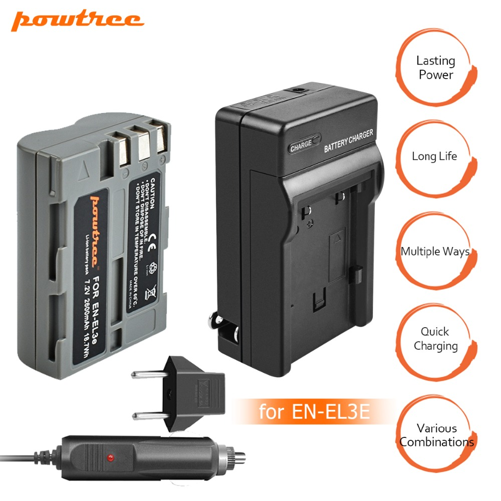 1 Packs 7,2 v 2600 mah ENEL3e EN-EL3e EN EL3e batterie + Auto ladegerät Für Nikon D30 D50 D70 D70S d90 D80 D100 D200 D300 D300S D700 L15