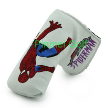 White Spider Man Putter Cover Headcover Golf Head Covers for Golf Blade Club Head PU Leather Protector