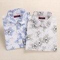 Dioufond Белье Блузка Белый Женщины Цветочный Хлопок Блузка С Длинным Рукавом Рубашки Женские Блузки большие размеры Blusas Camisas Mujer Y