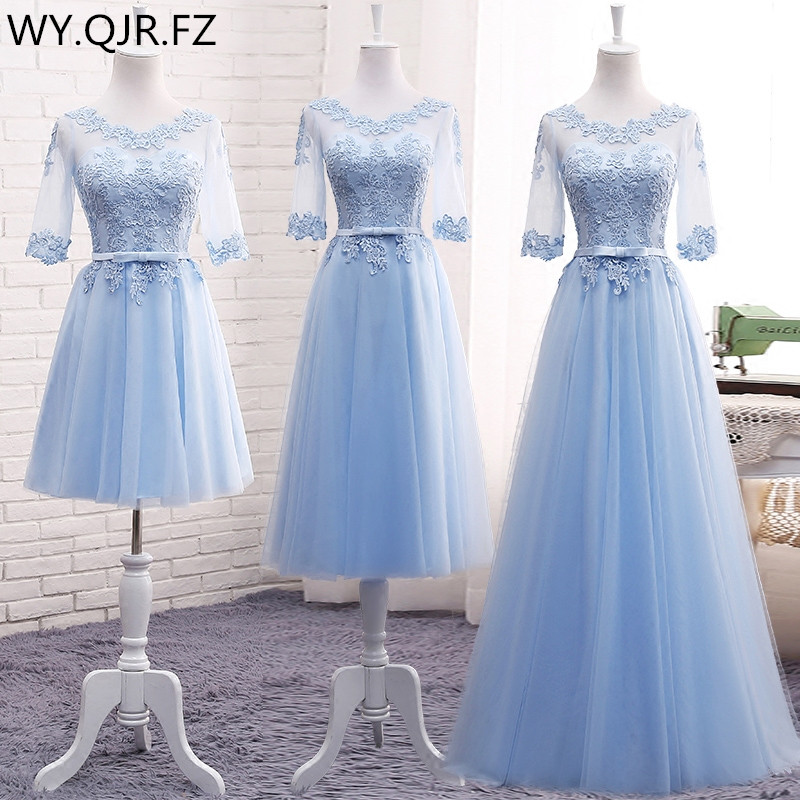 MNZ609#Lace up   Bridesmaid     Dresses   Long 2018 new gray champagne Sister group gown host party prom   dress   short plus size Custom