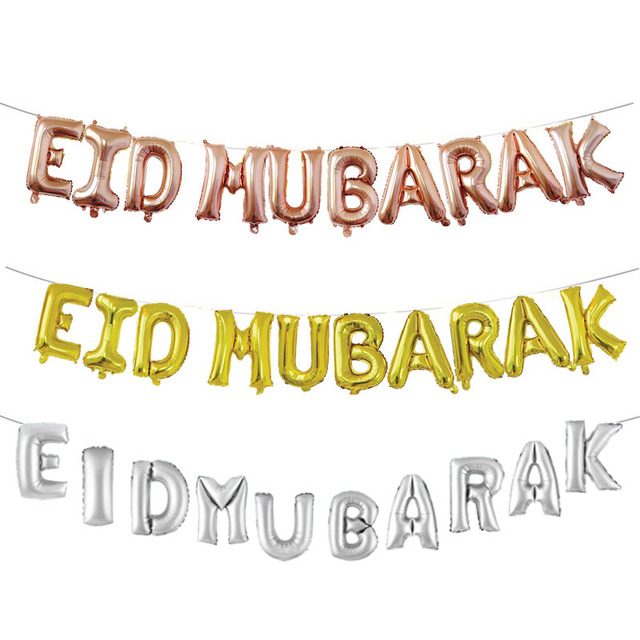 US $2 98 18% OFF|EID Mubarak Rose Gold Letter Balloon Gold Foil Balloons  for Muslim Islamic Party Decorations Eid al firt Ramadan Party Supplies-in