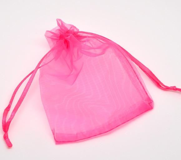 DoreenBeads Organza Organza Jewelry Bags Drawable Rectangle Fuchsia 12cm X9cm(4 6/8