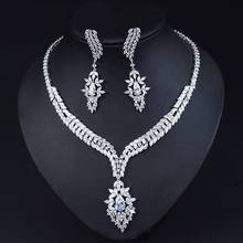 HIBRIDE HIgh Quality Water Drop Cubic Zirconia Wedding Bridal Necklace Jewelry Sets Luxury Brides Jewellery Accessories N-1058(China)