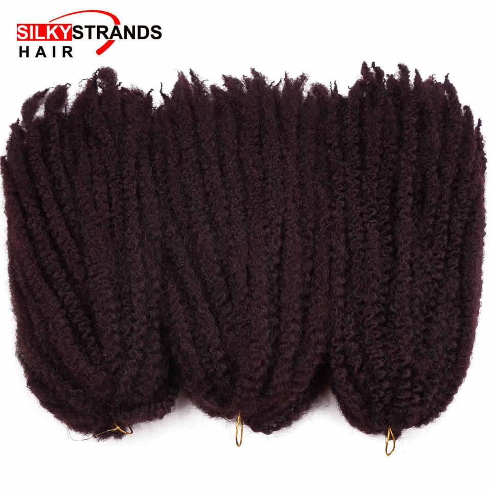 Halus Helai Marley Kepang Rambut Crochet Ombre Afro Sintetis Rambut Mengepang Rajut Kepang Rambut Ekstensi Massal