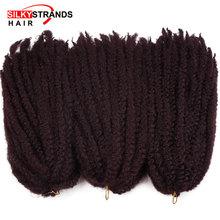 Jedwabiste nici Marley warkocze włosy Crochet Ombre Afro Kinki Kanekalon syntetyczne plecionki włosów Crochet warkocze przedłużanie włosów luzem tanie tanio 20nitki opakowanie W mieście kanekalon