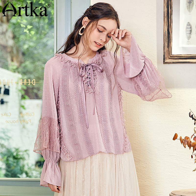ARTKA 2018 Autumn New Women Ruffled Drawstring Collar Flare Sleeve Perspective Elegant Chiffon Lace Stitching Shirt