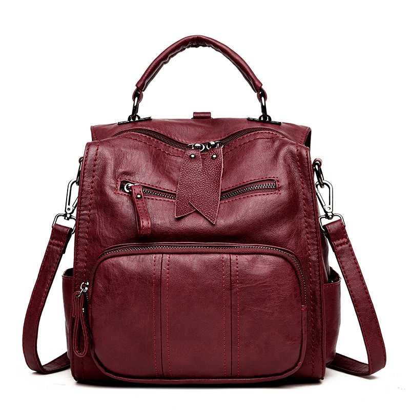 New Fashion Backpack Women Genuine Leather Female School Bags Patchwork Real Sheepskin Back Pack