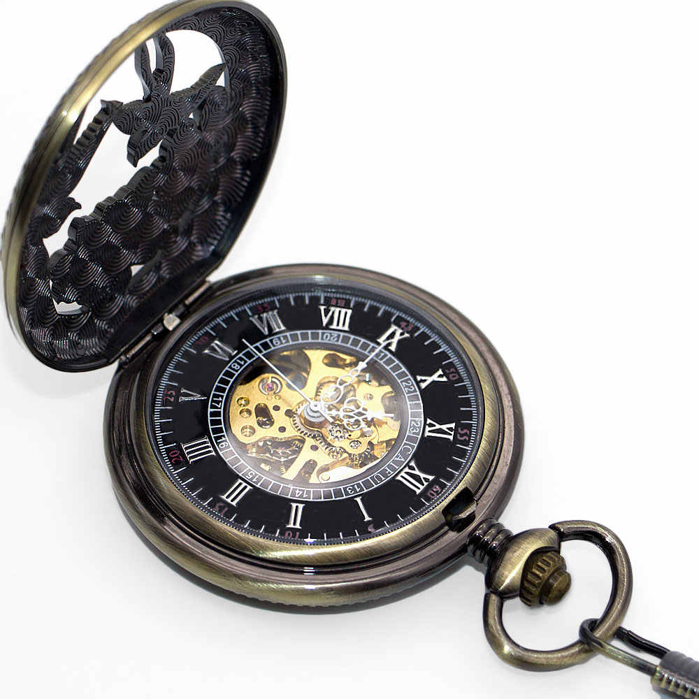 Bronze Vintage Flower and Bird Carving Roman Numberals Black Dial Mehanical Pocket Watch with FOB Chain for Men Women PJX1349