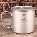 350 мл чистая титановая чашка Keith  походная чашка для пикника  однонастенная кружка с откидной ручкой  Титановая Крышка