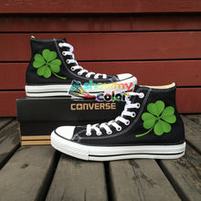 Sneakers Man Woman Converse Chuck Taylor Skateboarding Shoes Flower Four Leaf Clover Design Hand Painted Shoes Christmas Gifts