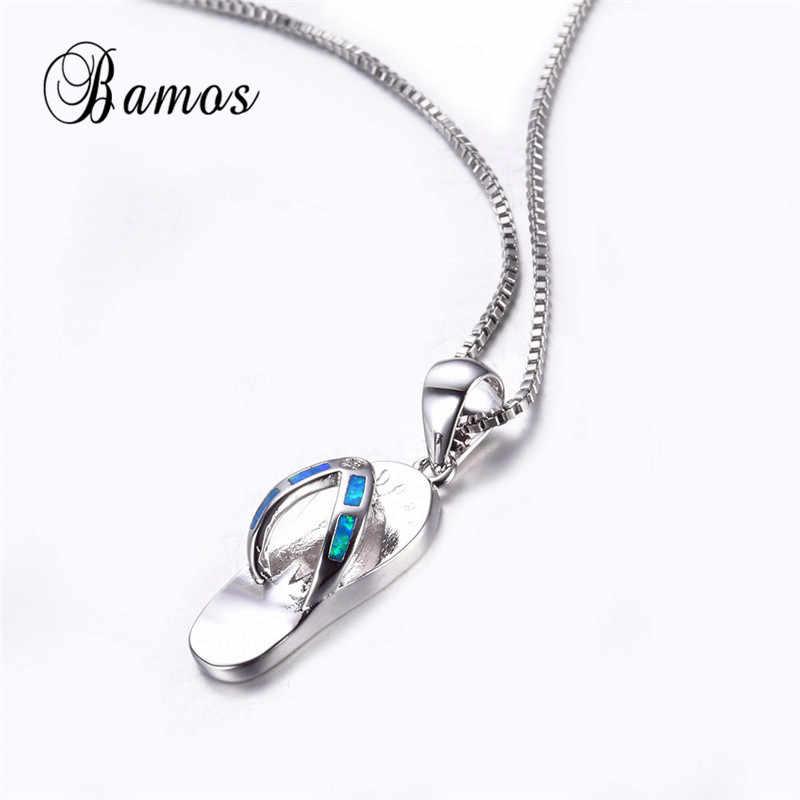 Bamos 925 Sterling Silver Bạc Đầy Đồ Trang Sức Cá Tính Thiết Kế Xanh Opal Lửa Dép Mặt Dây Đối Với Phụ Nữ Men Quà Tặng NL0063