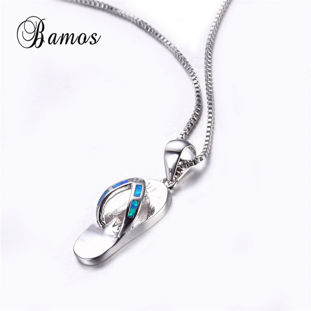 Bamos 925 sterling silver filled jewelry personality design blue bamos 925 sterling silver filled jewelry personality design blue fire opal slipper pendant necklaces for women aloadofball Image collections