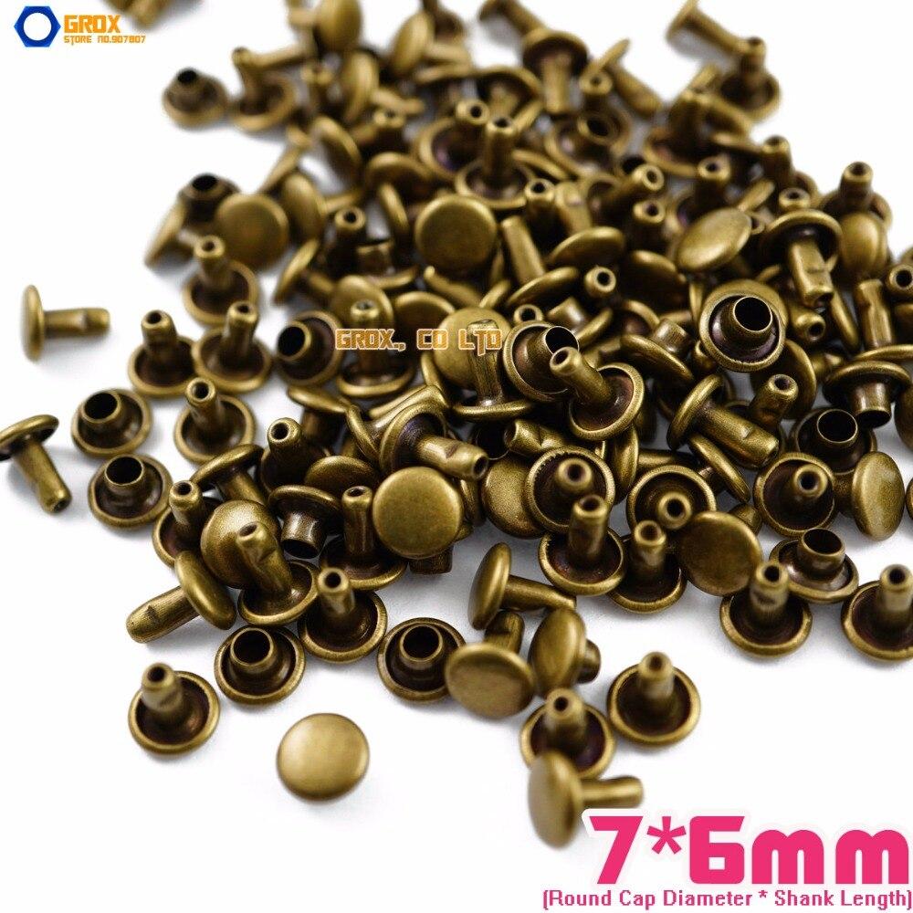350 set 8*6mm Rose Gold Double Cap Round Rapid Rivet Punk Leathercraft Rivet
