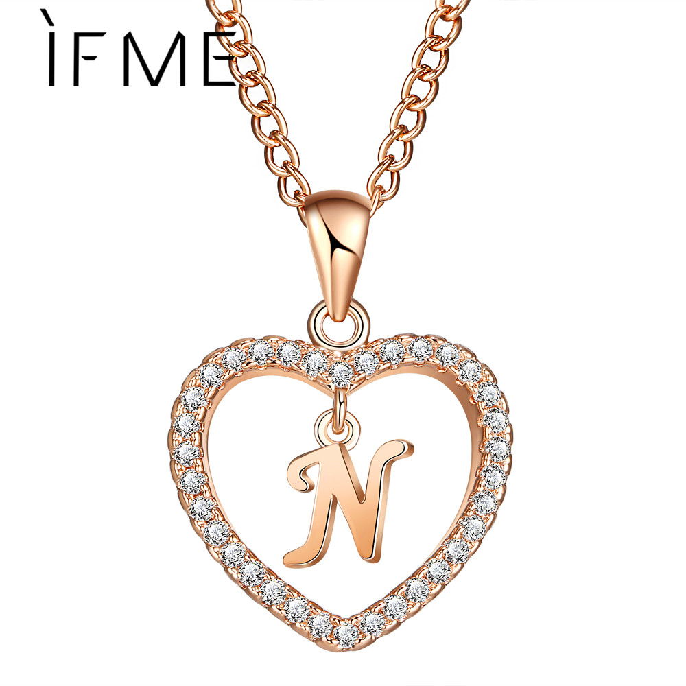 Us 1 79 10 Off If Me Love Heart Crystal Gold Silver Color N Letter Initial Name Necklace Cz Pendant For Women Elegant Choker Jewelry Girl Gifts In