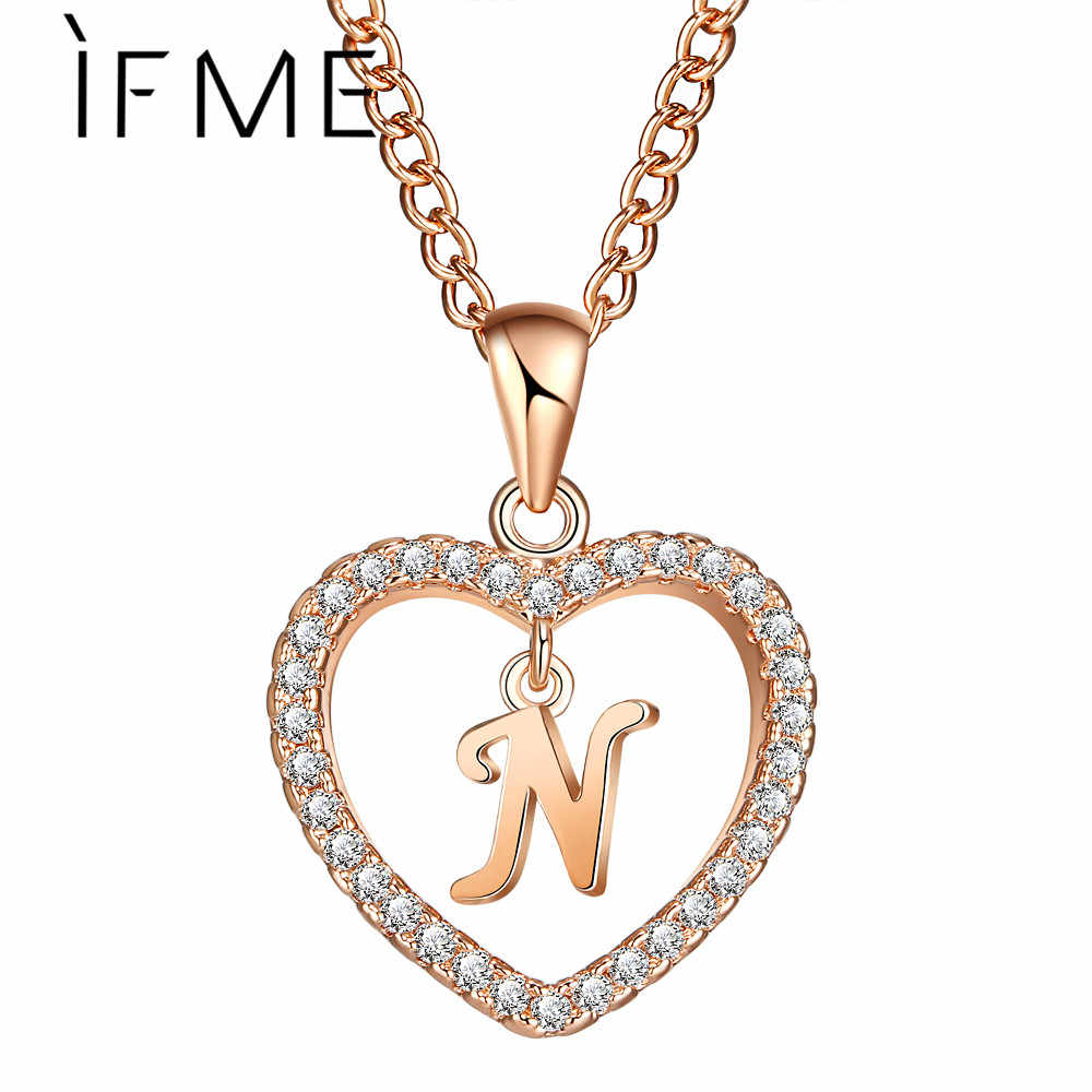 IF ME الحب القلب كريستال الذهب والفضة اللون N رسالة الأولي اسم قلادة تشيكوسلوفاكيا قلادة للنساء أنيقة المختنق مجوهرات فتاة الهدايا