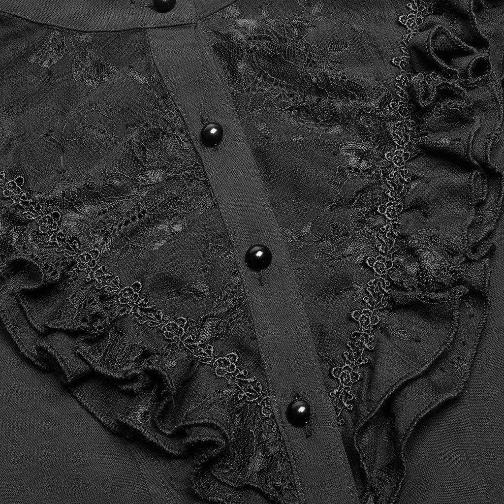 EQ нежный цельный кружевной полупрозрачный женский длинный рукав с воланом блузка женская кружевная рубашка весна осень - 6