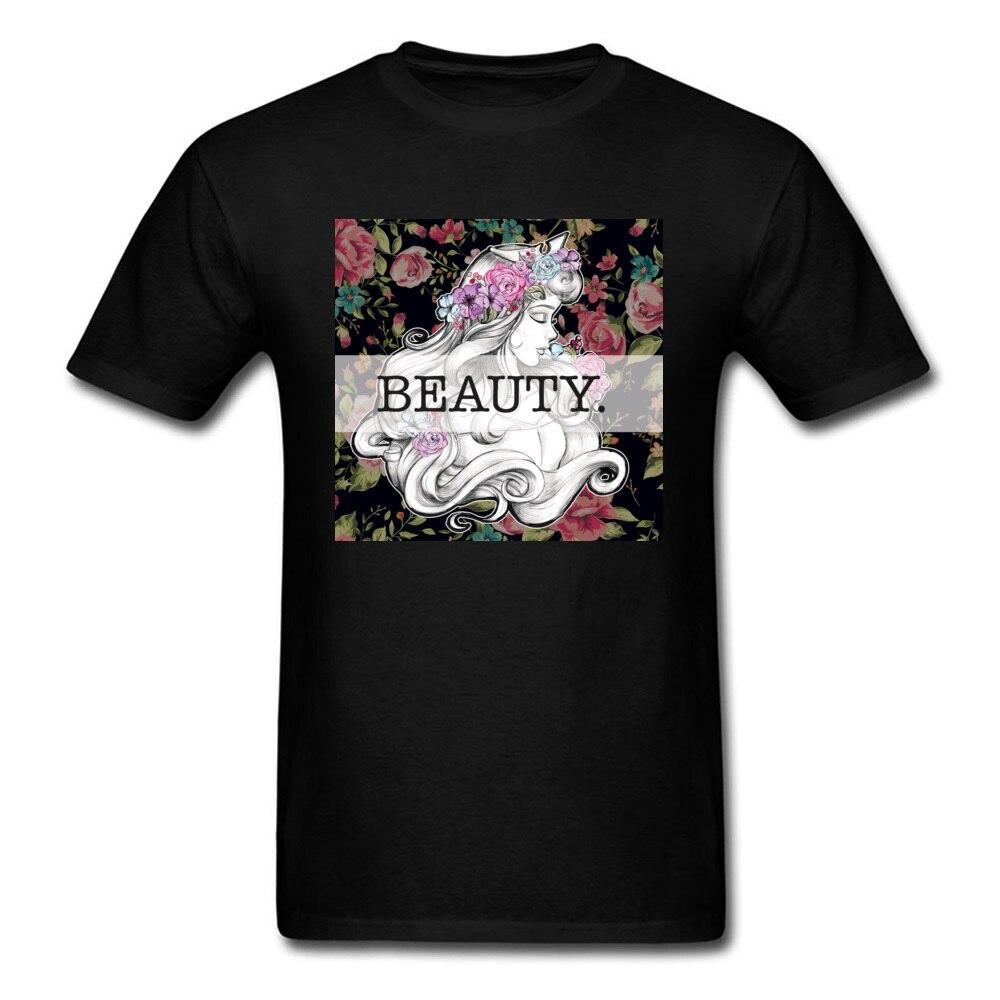 Personalized T Shirt Princess Beauty T-shirts Summer Autumn TShirts For Men Faddish Flower Tops Woman Cotton Tees Black