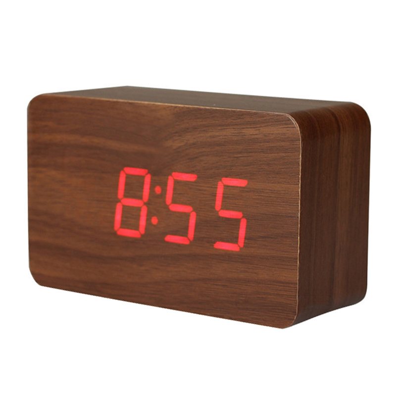 Wooden LED Digital Clock Alarm Clock Time Thermometer Calendar USB / AAA brown and red