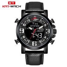 KAT-WACH Mens Dual Watches Brand Men Leather Sports Watches Men's Quartz LED Digital Clock Waterproof Military Wrist Watch все цены