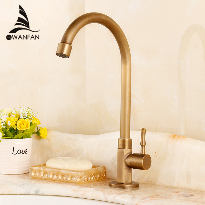 Kitchen Faucet Single Cold Antique Brass Kitchen Sink Faucet Vanity Swivel Mixer Water Tap Rotate Spout Cozinha HJ-0186F antique brass kitchen faucet bronze finish water tap kitchen swivel spout vanity sink mixer tap single handle free shipping 6020