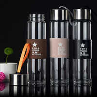 Transparent Glass Bottle Thermal insulation Holster Portable Office Glass Water Bottle Glass Cup