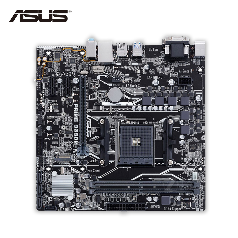 Asus PRIME B350M-K Desktop Motherboard AMD B350 Socket AM4 AMD Ryzen DDR4 64G SATA3 USB3.1 Micro-ATX