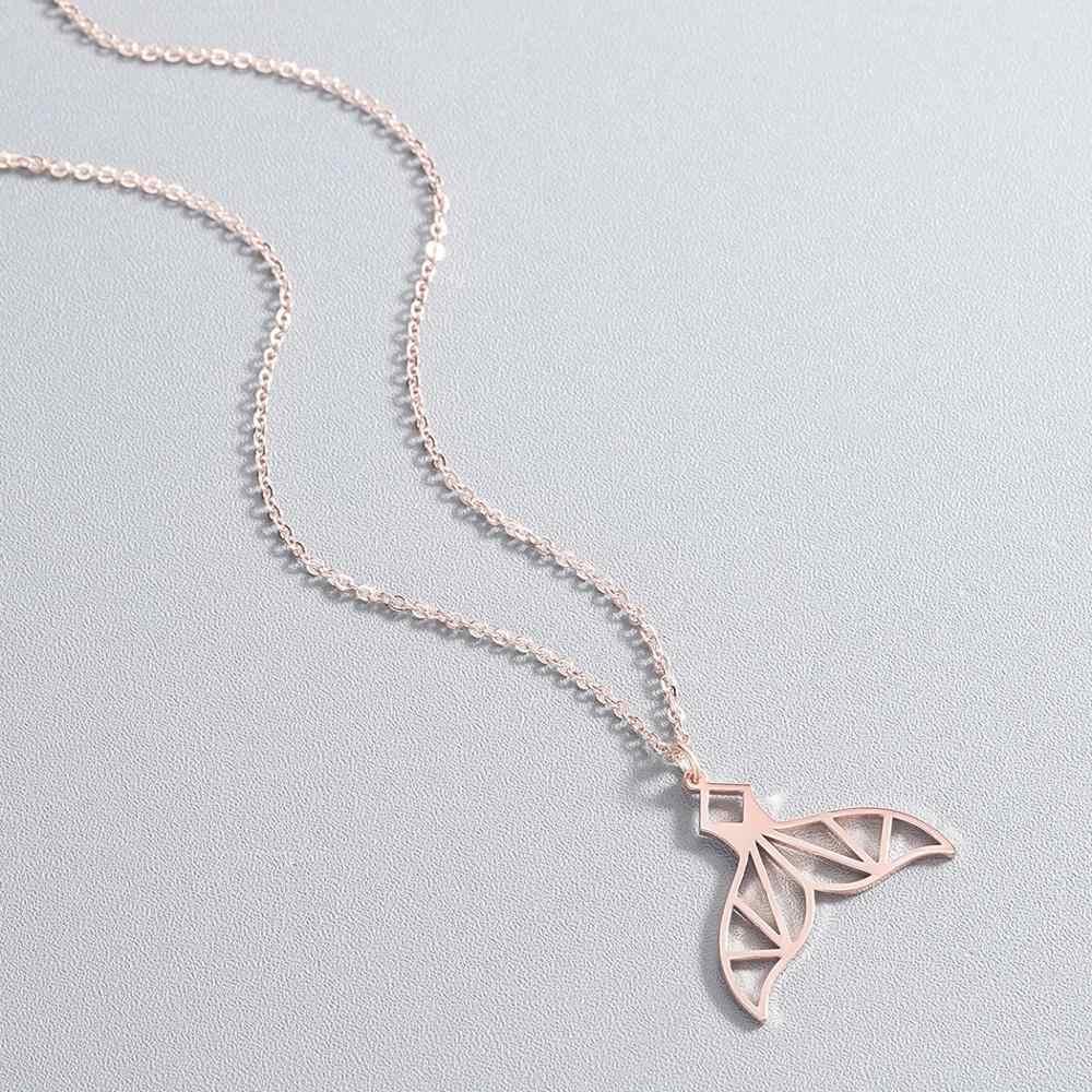 Chandler สแตนเลส Origami Mermaid จี้สร้อยคอ Fish Tail Shape Charm Fairy Dolphin Fishtail Choker เครื่องประดับโลหะ