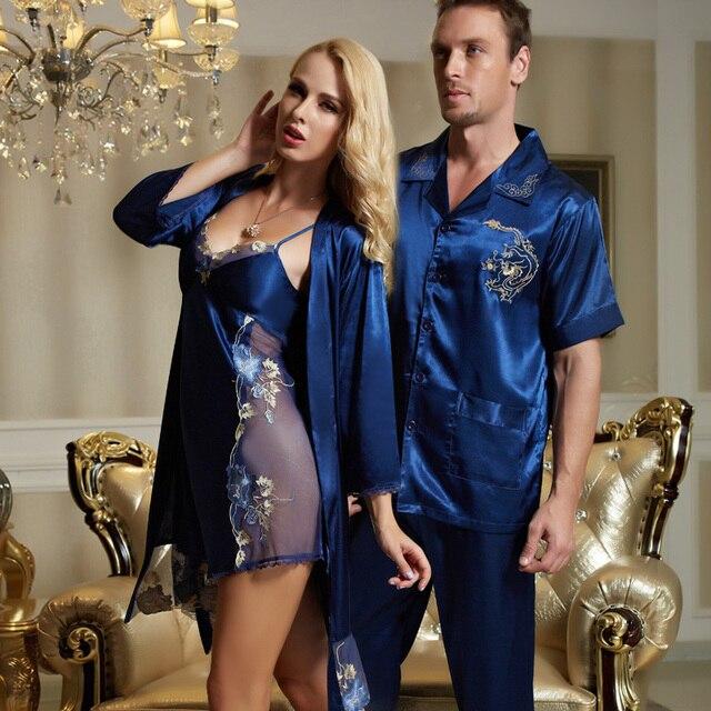 New Listing Couple Sleepwear Emulation Silk Women Robe Sets Embroidery Men Pijama Summer Soft Lovers Nightwear Top Fashion Sale