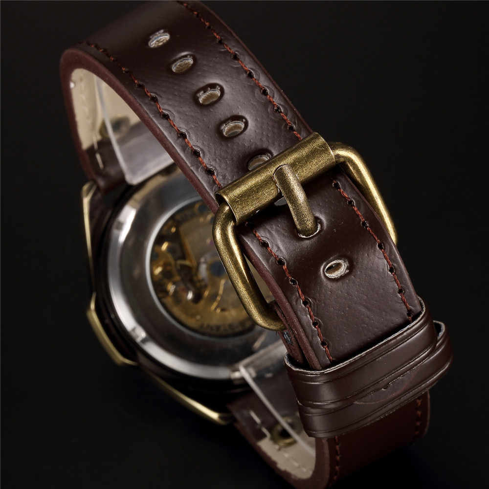 حار بيع العتيقة التلقائية الميكانيكية جلدية باند steampunk ريترو البرونز نحت الهيكل العظمي الطلب الرجال ووتش هدية