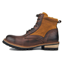 Handmade Vintage Polished leather western  British patchwork matin Boots wide men Punk cool rock brown