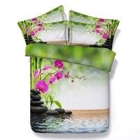 Bamboo Sheets Bedding Set Floral Aqua Duvet Cover Bedspread Bed Linen Doona Quilt Twin Queen Super
