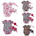 Девушка новорожденный одежда 2016 vetement дочь одежда набор meisjes infantil лето хлопок малышей девушка одежда Leopard