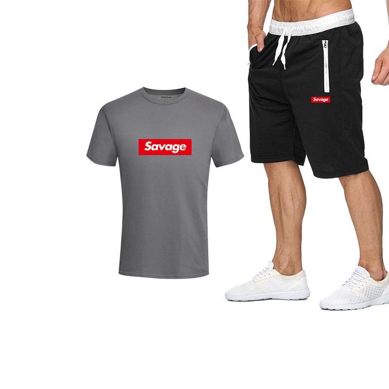 2019 New Men's T-Shirt Suit Letter Printing Summer Suit Casual T-Shirt Men's Sportswear Brand Clothing Suit Men's T-Shirt