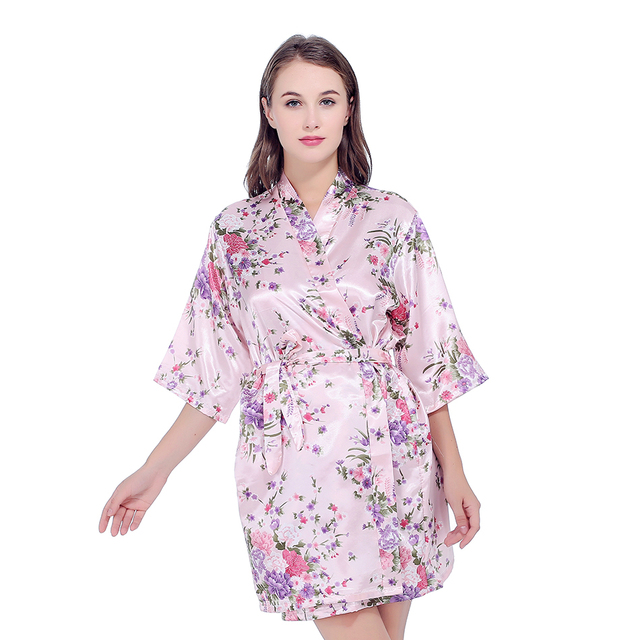 Silk Satin Wedding Bride Bridesmaid Robe Floral Bathrobe Short ...