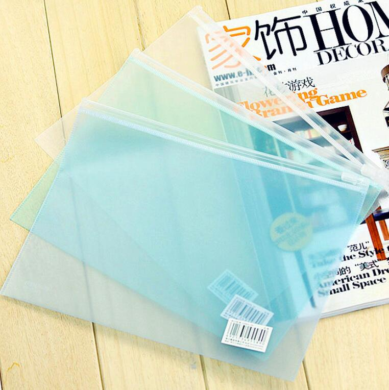 Office Stationery PP Document Bags Matte Transparent Zipper Bag 6 PCS/Lot A5 File Paper Organizer
