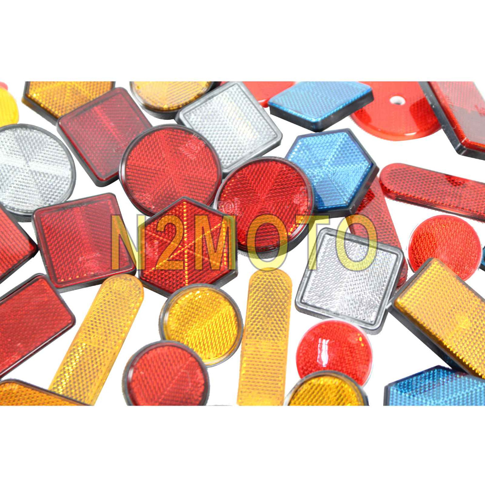Motorcycle Rectangle Round Reflector Safety Warning Plate Reflective Stickers for Car ATV Trunk Harley Chopper Red Yellow Blue bande réfléchissante scooter orange pour fourche
