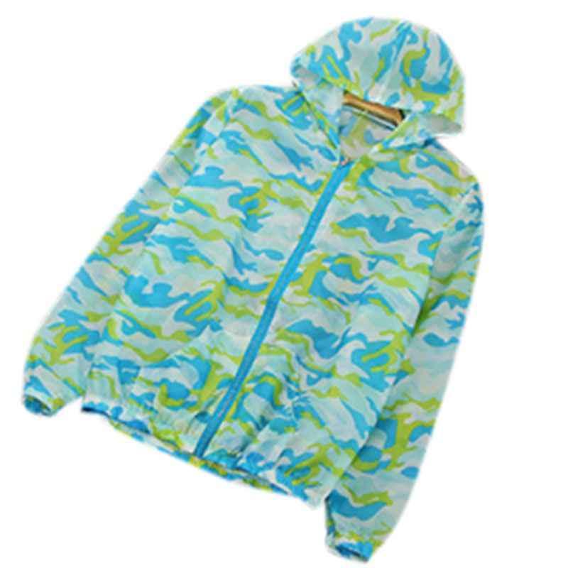 Женская Солнцезащитная одежда толстовка на молнии с длинным рукавом печатная куртка с капюшоном, верхняя одежда непроницаем для УФ-лучей ветрозащитный туристическая куртка для пары лето