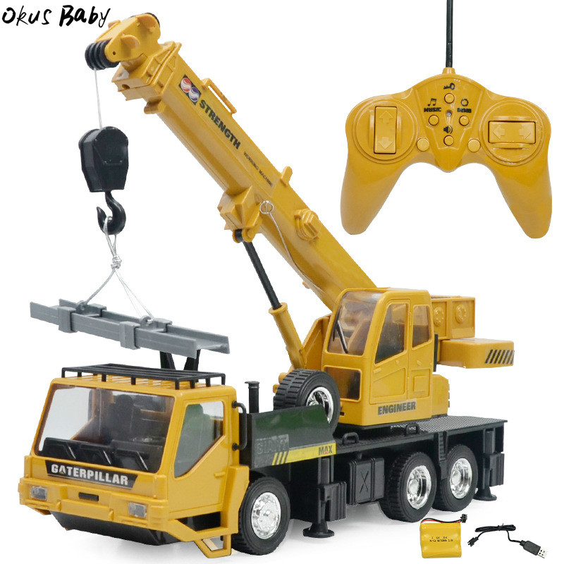 Newest 1:24 8CH Simulation Crane Excavator Wireless Remote Control engineering Lighting Truck Chargeable RC Vehicles Cars Toys