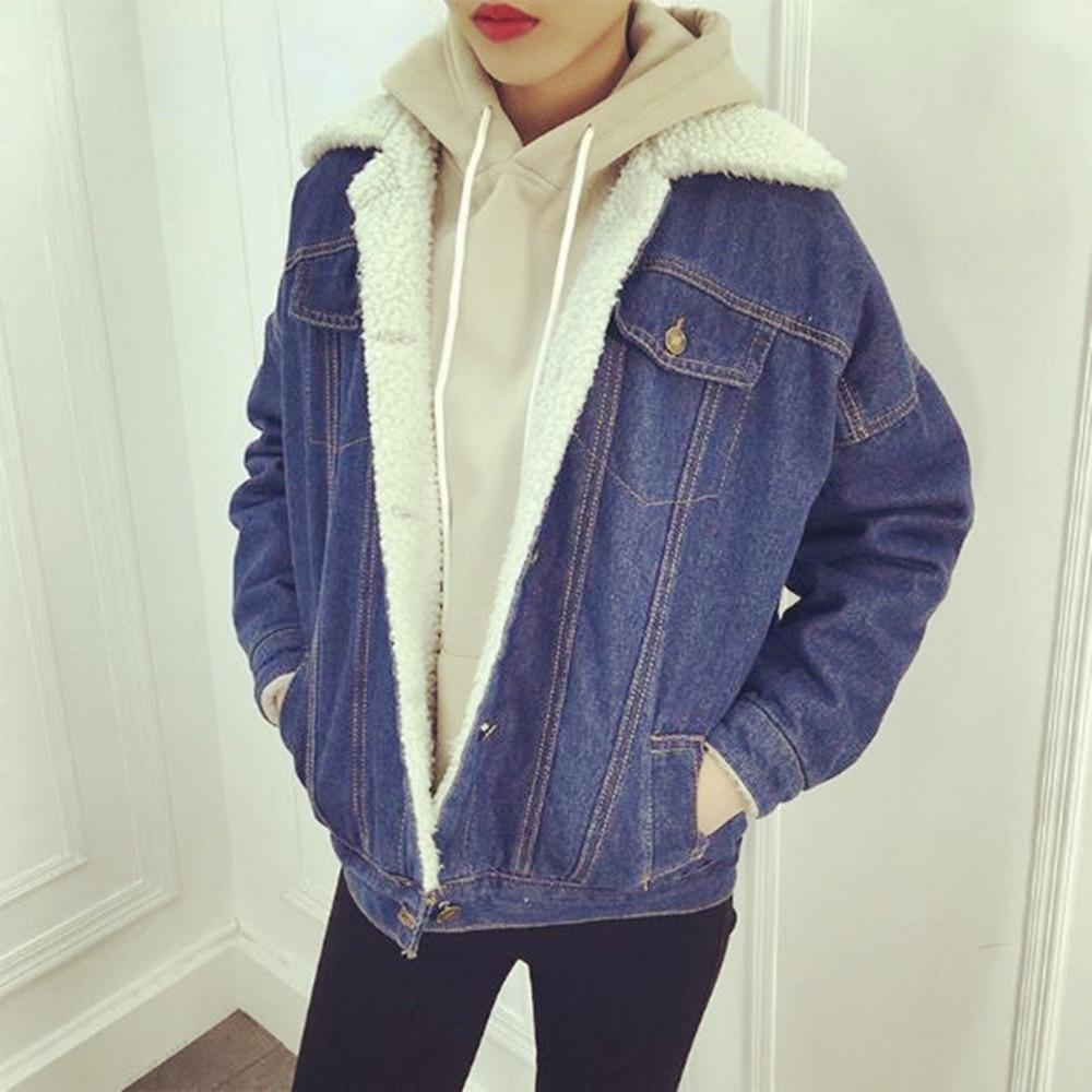 FANALA Jacket Women 2017 Casual Denim Jacket Long Sleeve Cotton Sherpa Lined Warm Jeans Coat Outwear jaqueta feminina Plus Size