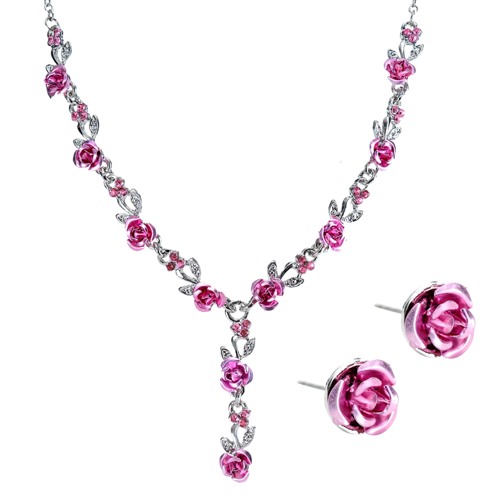 bj's card renewal coupon 2Pcs/Set Fashion Acrylic Rose Pendant cheap jewelry sets Stud Earrings Necklace Women Jewelry Sets asos us sales Jewelry Sets dk20280625