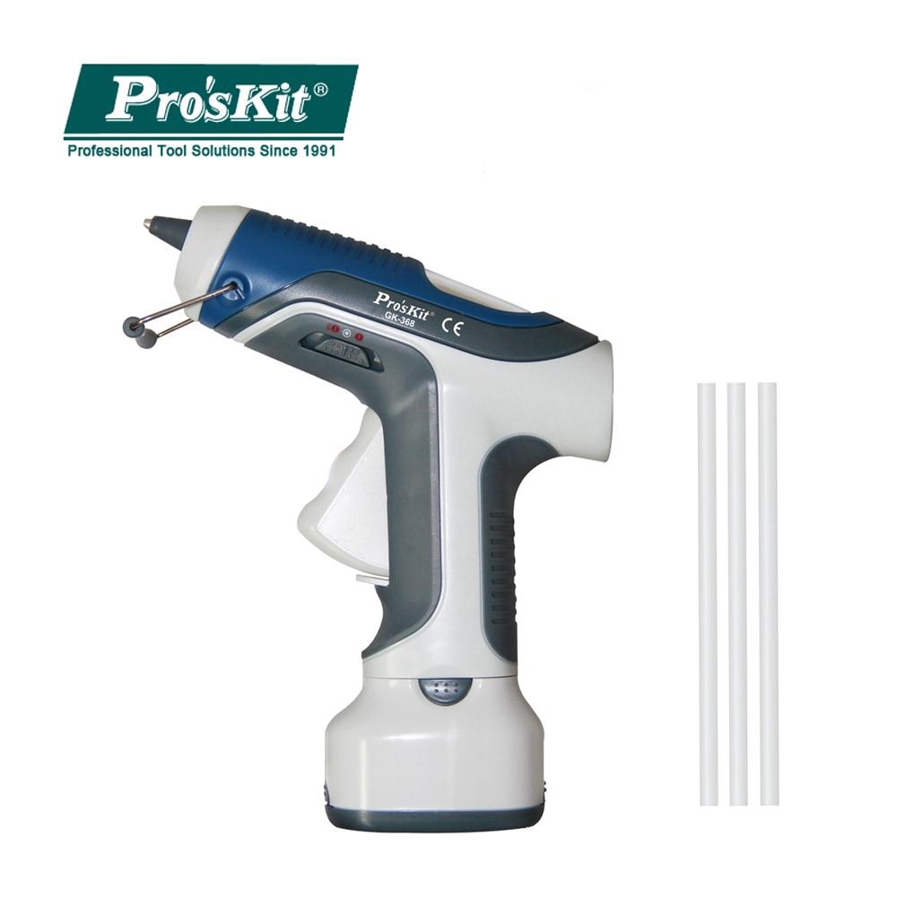 Pro'sKit GK 368 Battery Cordless Charging Hot Melt Glue Gun 7W/6V +3pcs Glue Stick Hot Glue Gun Power Tools For DIY Craft Model