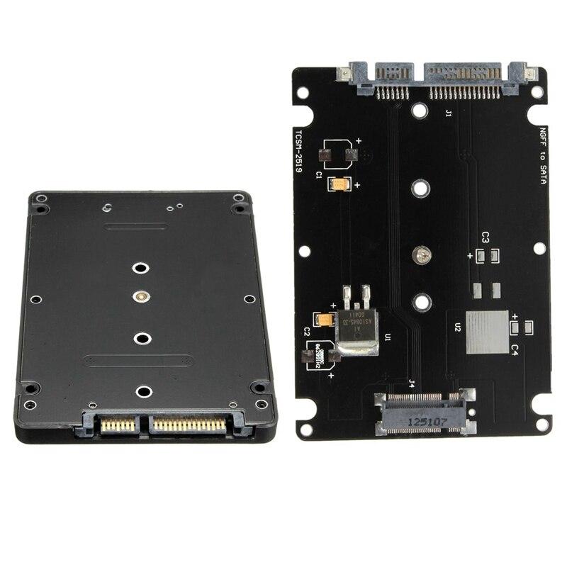 NGFF to SATA Converter Adapter Case B Key Socket 2 M.2 NGFF (SATA) SSD to 2.5 SATA Adapter Card Adapter with Black Case ssd msata to b key m 2 ngff sata adapter converter adapter card board for laptop desktop